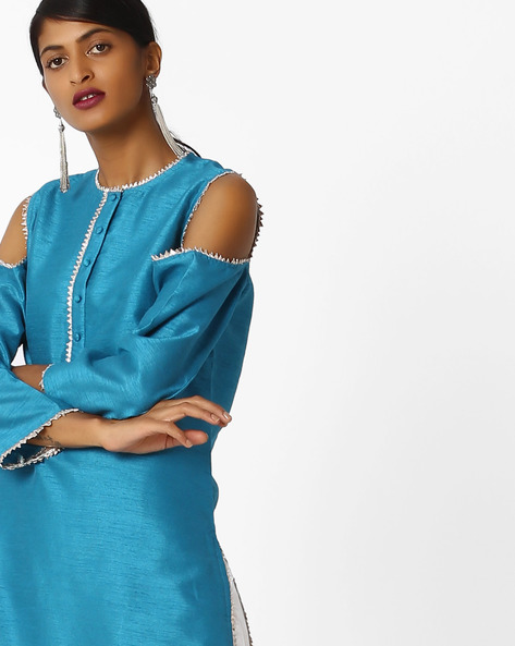 Straight Kurta With Cold-Shoulder Sleeves By Sassafras ( Turquoise )