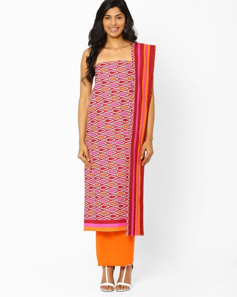 Unstitched Printed Cotton Dress Material By Hhara ( Pink )