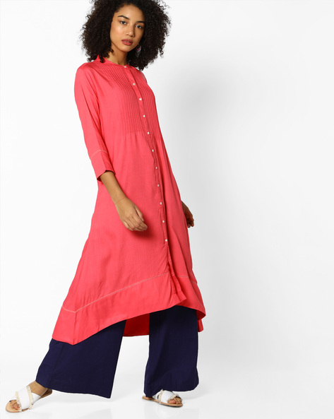 A-line Kurta With Asymmetric Hemline By Project Eve IW Casual ( Coral )