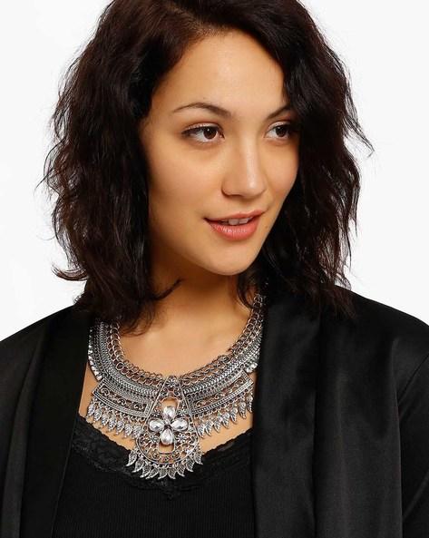 Stone-Studded Necklace By Style Fiesta ( Black )