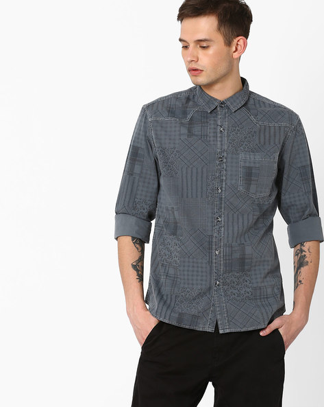 Overdyed Patchwork Print Slim Fit Shirt By AJIO ( Grey )