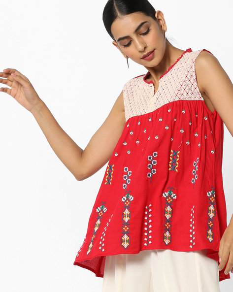 High-Low Tunic With Embroidery By FUSION BEATS ( Red )