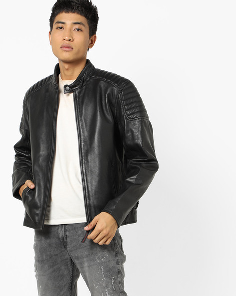 Zip-Front Biker Jacket By JUSTANNED ( Black )