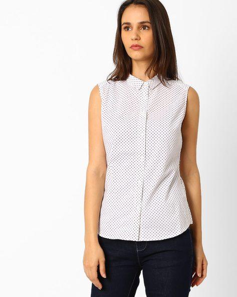 Spot Print Sleeveless Shirt By Wills Lifestyle ( White )