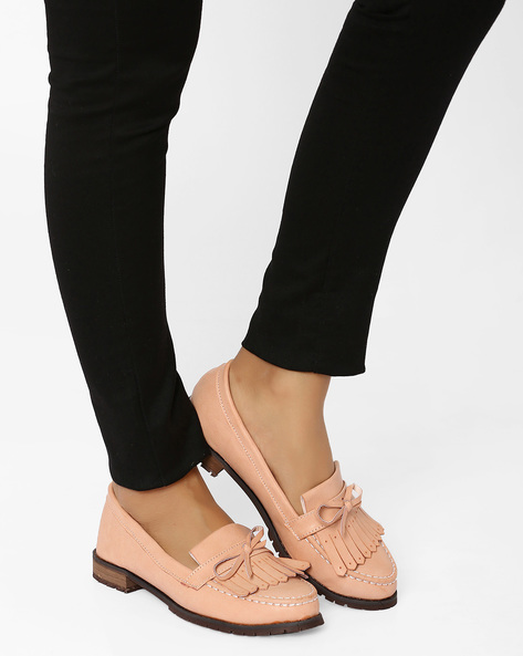 Faux Leather Loafers With Bow Detail By MFT Couture ( Pink )