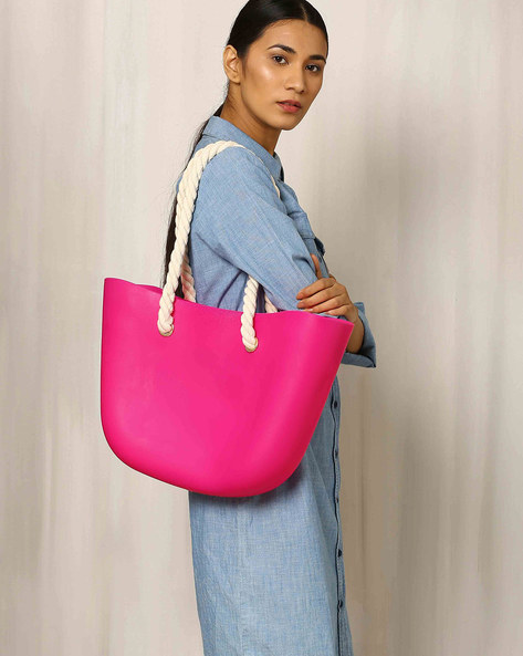Beach Bag With Rope Handle By Indie Picks ( Fuchsia )