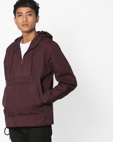 Front-Zip Hooded Jacket By AJIO ( Burgundy )