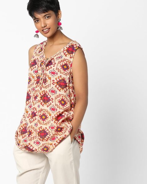 Printed V-neck Sleeveless Top By PE IW Fusion ( Yellow )