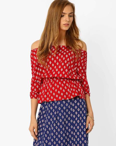 Printed Off-Shoulder Peplum Top By AJIO ( Red )