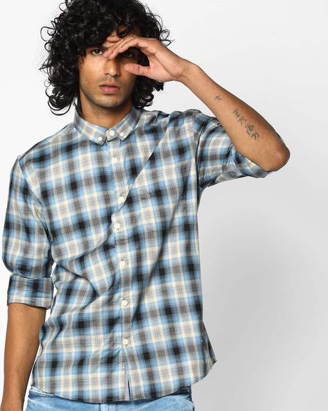 Slim Fit Checked Shirt With Button-Down Collar By VOI JEANS ( Multicolor )