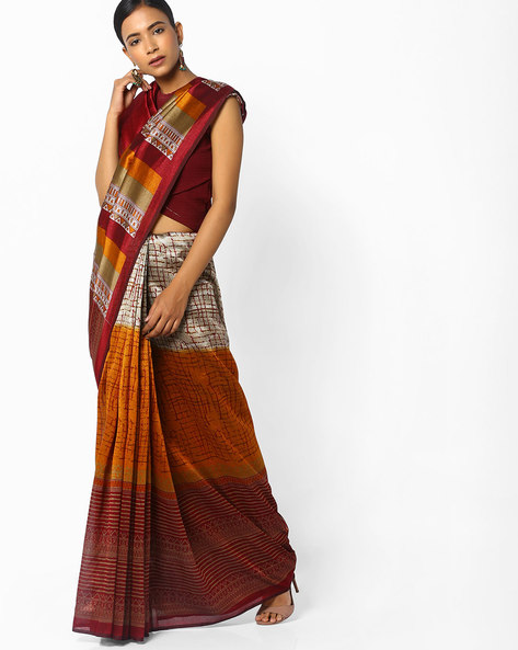Printed Saree With Contrast Border By Florence ( Multi )