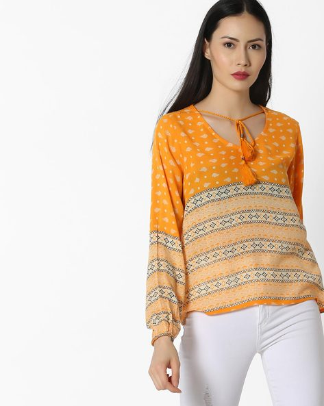 Printed Top With Neck Tie-Up By COLOUR ME ( Mustard )