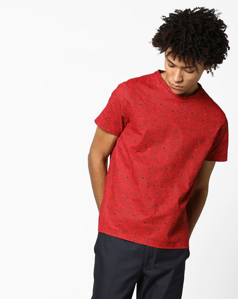 All-Over Floral Print Slim T-shirt By AJIO ( Red )