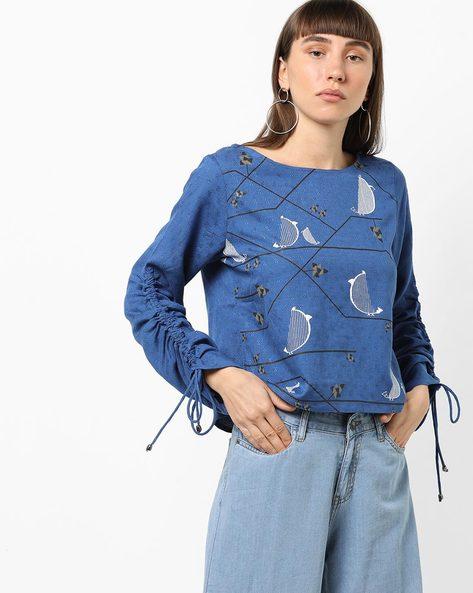 Printed Top With Tie-Up Sleeves By Global Desi ( Blue )