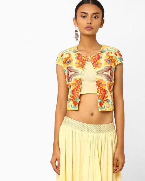 Floral Print Crop Jacket By AJIO ( Yellow )