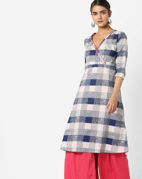 Checked Kurta With Overlapping Front By AJIO ( Blue )