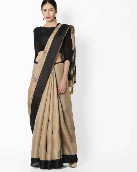 Printed Saree With Contrast Border By Amori ( Black )