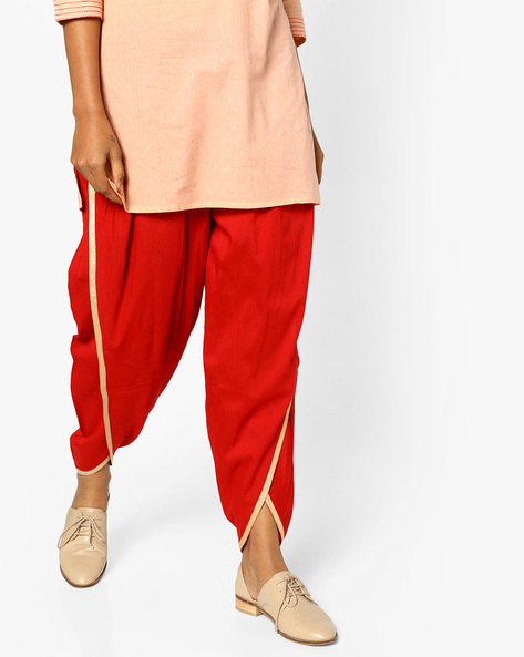 Dhoti Pants With Drawstring Waist By AJIO ( Red )