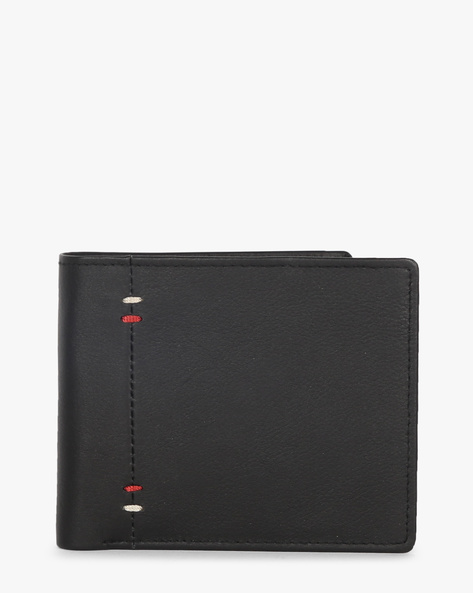 Leather Bi-Fold Wallet With Zipper By TEAKWOOD LEATHERS ( Black )