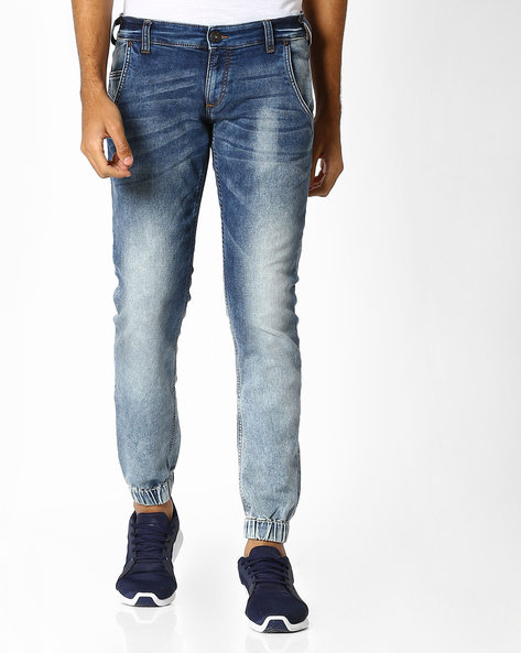 Heavy Wash Slim Fit Jeans By Pepe Jeans ( Blue )