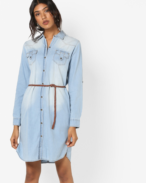 Denim Shirt Dress With Belt By AJIO ( Lightblue )