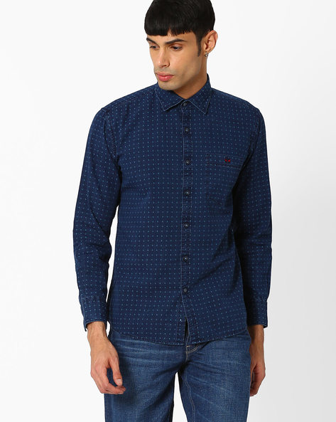Slim Fit Shirt With Patch Pocket By CRIMSOUNE CLUB ( Navy )