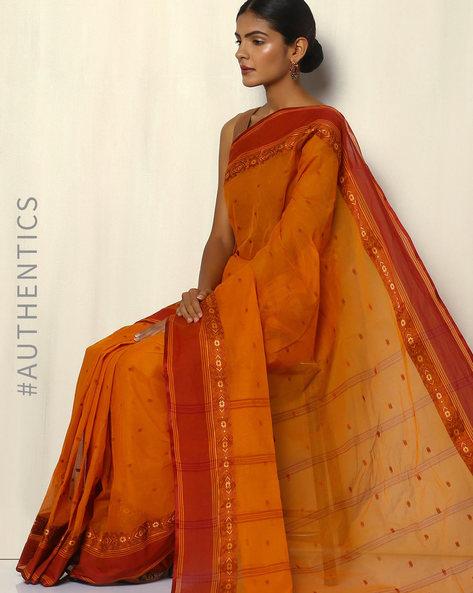 Bengal Handloom Tant Tangail Buti Cotton Saree By Indie Picks ( Yellow )