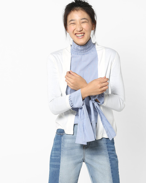 Flat-Knit Shrug By CODE By Lifestyle ( White )