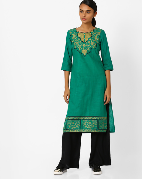 Straight Kurta With Printed Yoke & Hem By AURELIA ( Green )