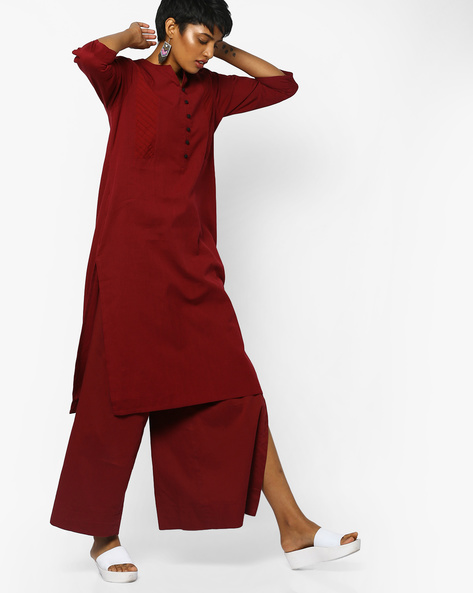Straight Kurta With Pintuck Panels By PE IW Casual ( Maroon )