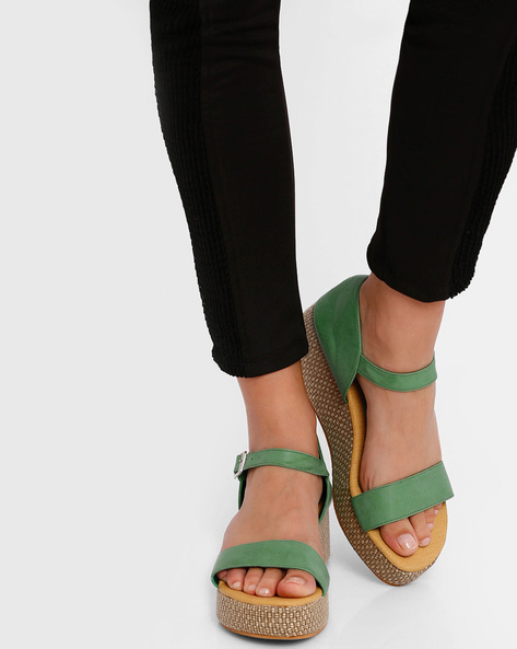 Strappy Platforms With Buckle Closure By Get Glamr ( Green )
