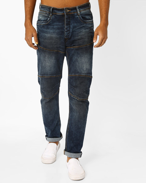 Slim Fit Lightly Washed Jeans By AJIO ( Blue )