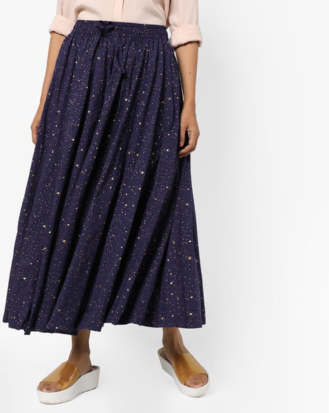 Speckle Print Midi Skirt By Project Eve IW Casual ( Navy )