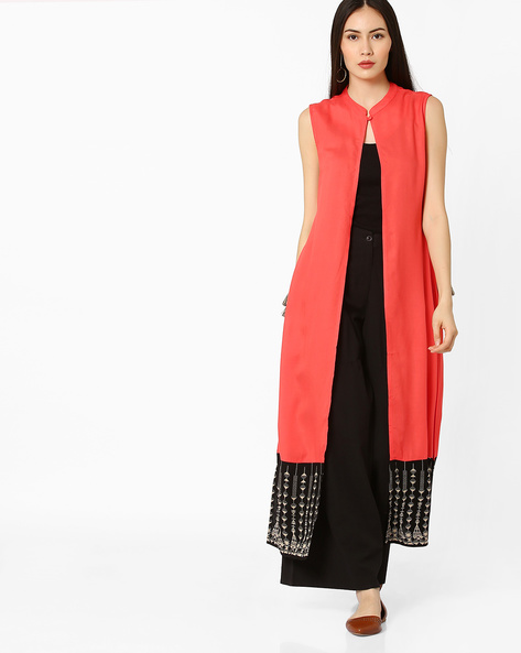 Shrug With Mandarin Collar By COLOUR ME ( Coral )