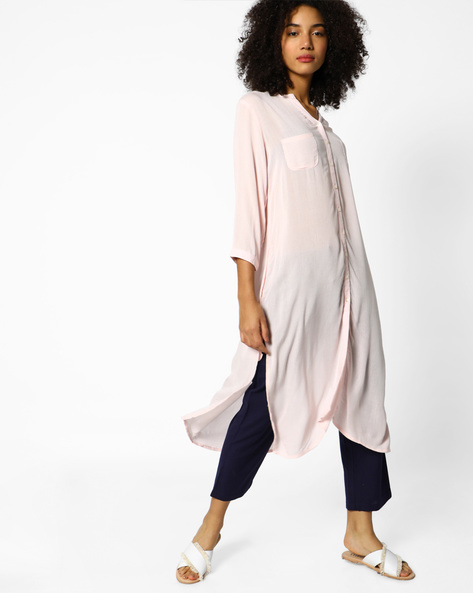 Shirt Kurta With Slit Hemline By Project Eve IW Casual ( Babypink )