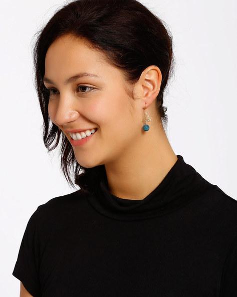 Gold-Plated Dangler Earrings By Shabnam Gitanjali ( Turquoise )