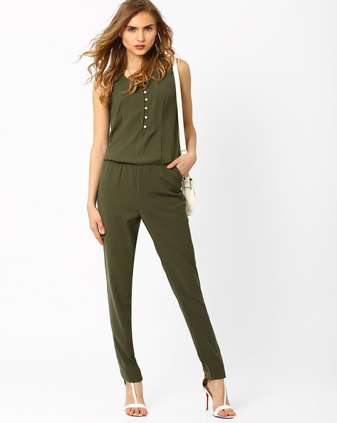 Jumpsuit With Elasticated Waist By AJIO ( Olive )