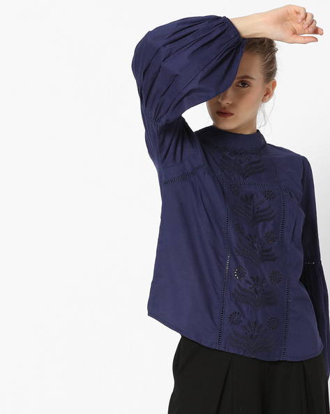 Embroidered Top With Bishop Sleeves By Rena Love ( Navyblue )