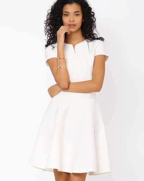 Fit & Flare Dress With Jacquard By FIG ( Offwhite )