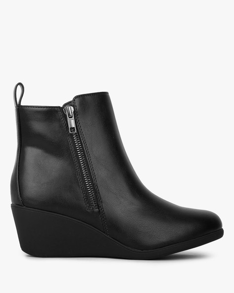 Ankle-Length Boots With Side Zipper By COMFORT PLUS ( Black )