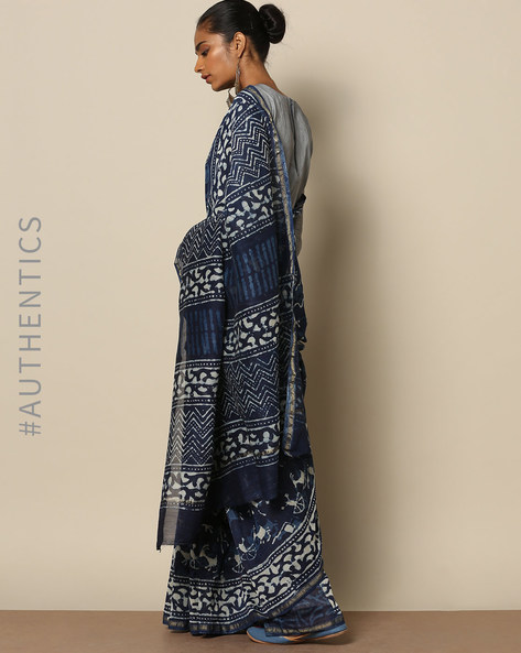 Handblock Indigo Print  Chanderi Saree With Zari By Indie Picks ( Indigo ) - 460146819001
