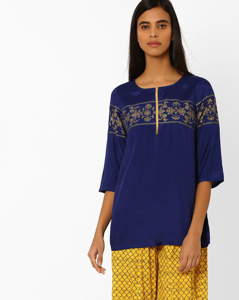 Printed Straight Kurti By AURELIA ( Blue )