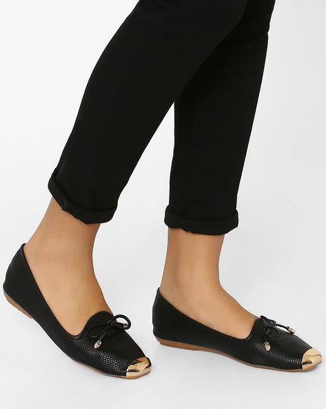 Textured Slip-Ons With Metal Accents By MFT Couture ( Black )