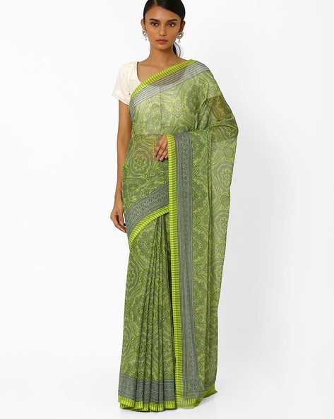 Printed Saree With Contrast Border By Akoya ( Green )