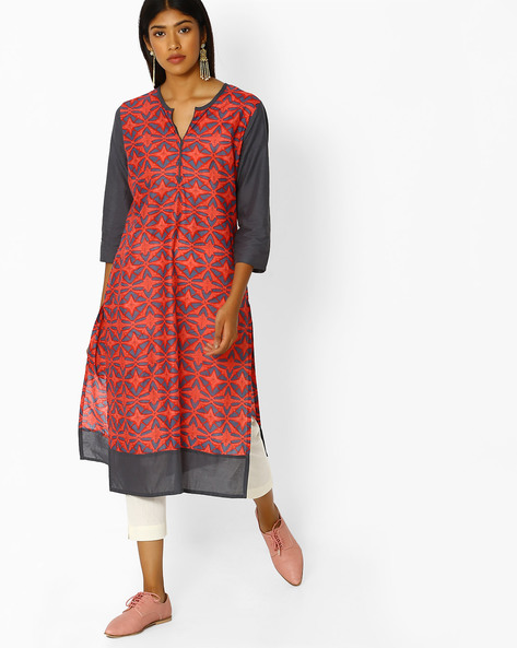Printed Straight Kurta With Contrast Sleeves By Purple Tree ( Coral )