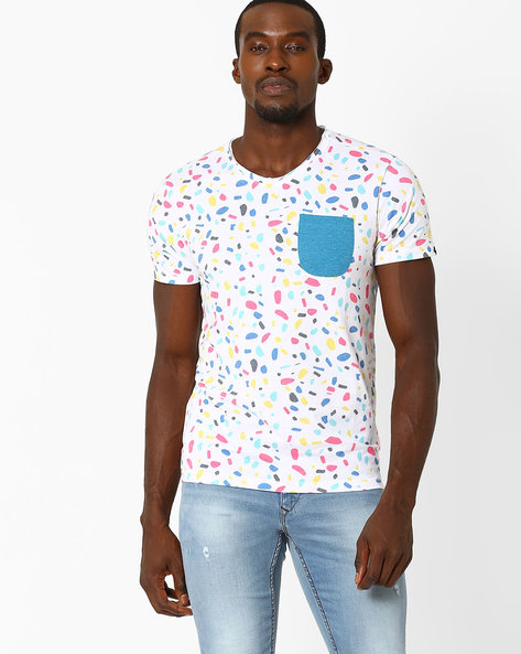 All-Over Print Crew-Neck Slim T-shirt By VOI JEANS ( White )
