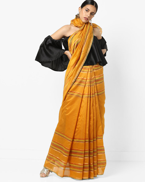 Top Dyed Striped Saree With Zari By Florence ( Yellow )