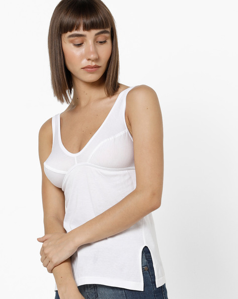 V-neck Cotton Camisole With Scoop Back By Floret ( White )
