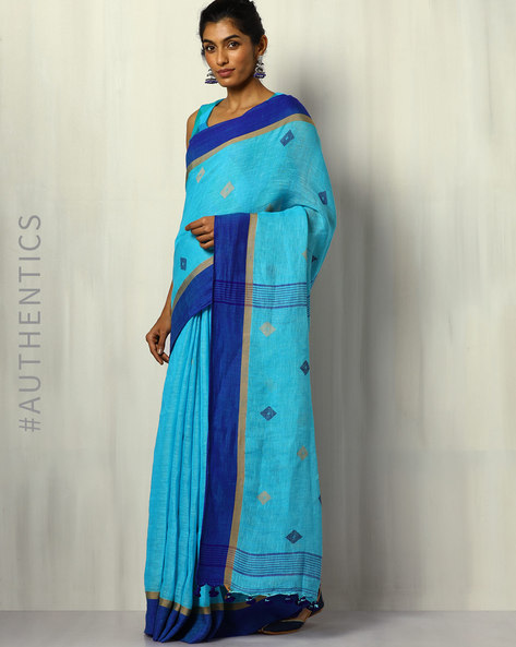 Handloom Bengal Pure Linen Jamdani Saree With Tassels By Indie Picks ( Blue )