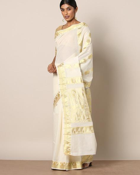 Kerala Kasavu Soft Cotton Saree With Zari Pallu And Buti By Indie Picks ( Offwhite )